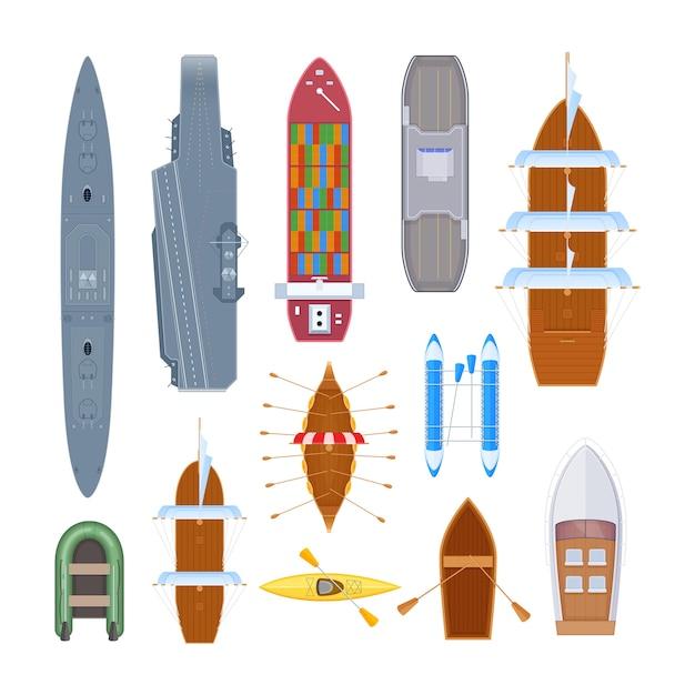 Набор водного транспорта различных современных военных кораблей, паромов, морского транспорта. Premium векторы
