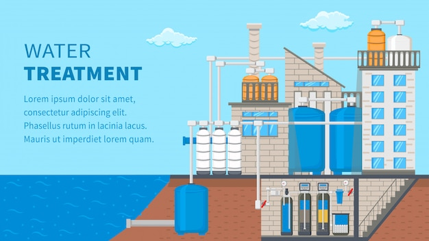 Water treatment system banner with text space Premium Vector