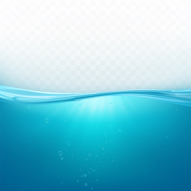 Water wave surface, liquid ocean line or sea underwater level with air bubbles background, blue fresh aqua in motion Free Vector