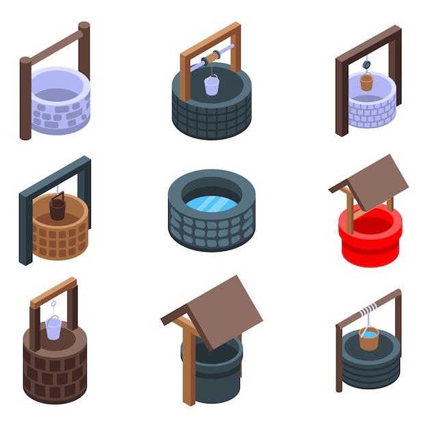 Water well clip-art set, isometric style Premium Vector