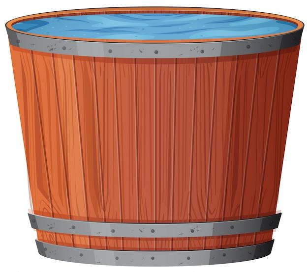 Water in wooden barrel on white background Premium Vector