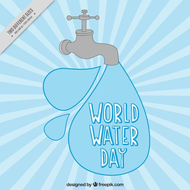 Water world day sunburst background Free Vector