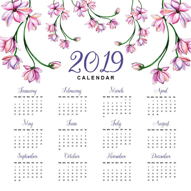 Watercolor 2019 floral calendar Premium Vector