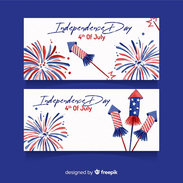 Watercolor 4th of july banners template Free Vector
