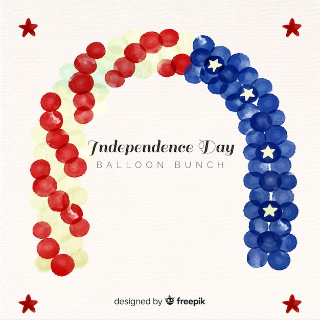 Watercolor 4th of july - independence day background with balloons Free Vector
