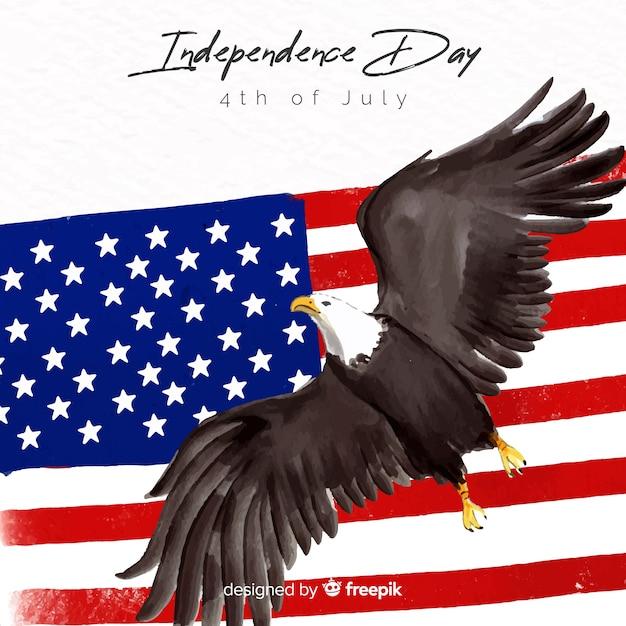 水彩の7月4日 - 独立記念日の背景 無料ベクター