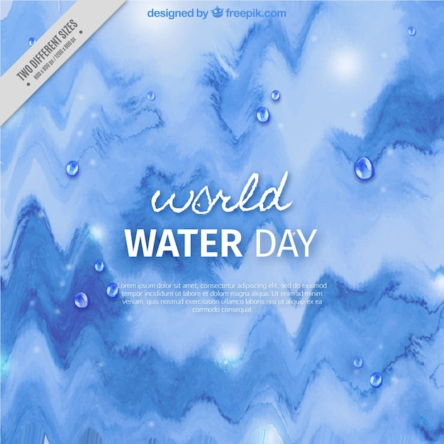 Watercolor abstract background of water world day