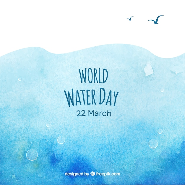 Watercolor abstract background of world water day
