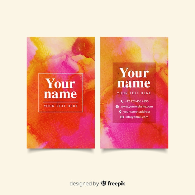 Watercolor abstract business card template Free Vector
