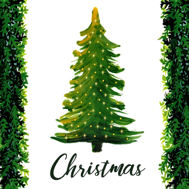 Watercolour Christmas Tree: Watercolor Abstract Christmas Tree Vector