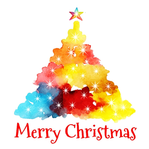 watercolor abstract christmas tree vector free download