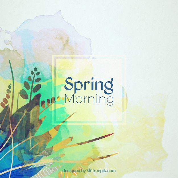 Download Vector Watercolor Abstract Leaves Spring
