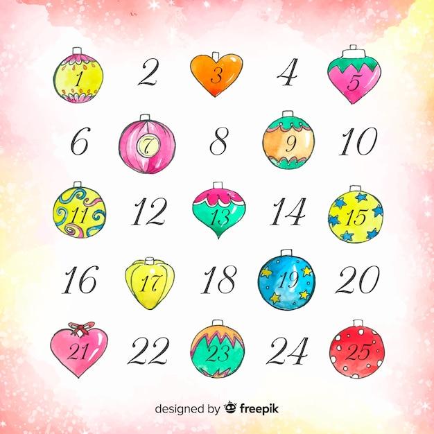 Календарь акварели Бесплатные векторы