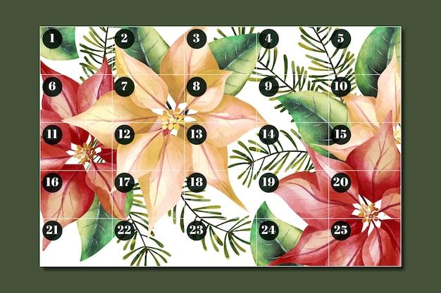 Watercolor advent calendar Free Vector