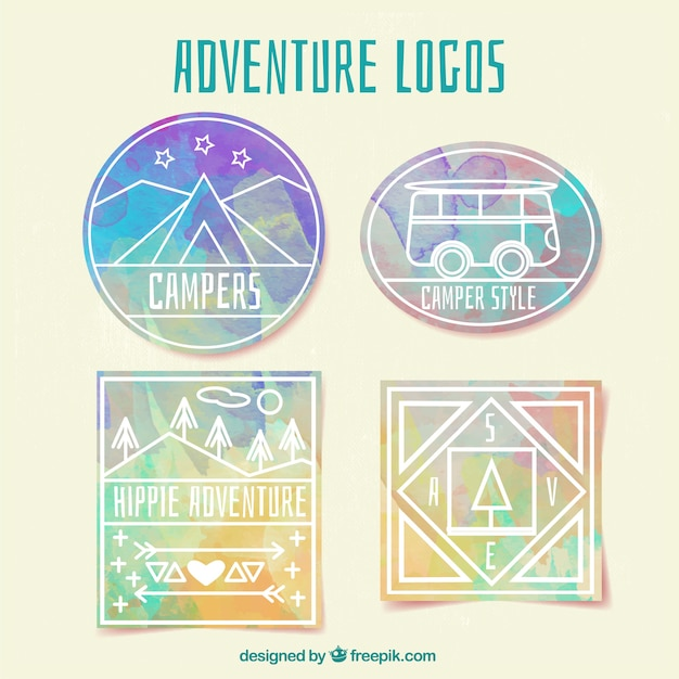 Watercolor adventure logos