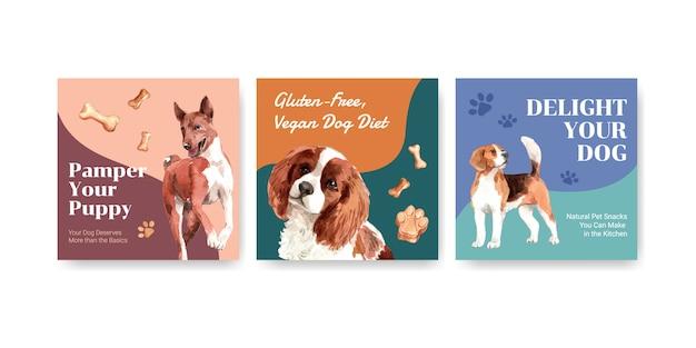 Modelli di pubblicità dell'acquerello impostati con cani e cibo Vettore gratuito