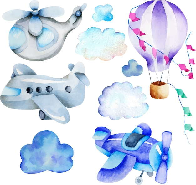 Watercolor air transport elements collection Premium Vector