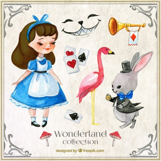 Watercolor alice in wonderland characters and elements Free Vector