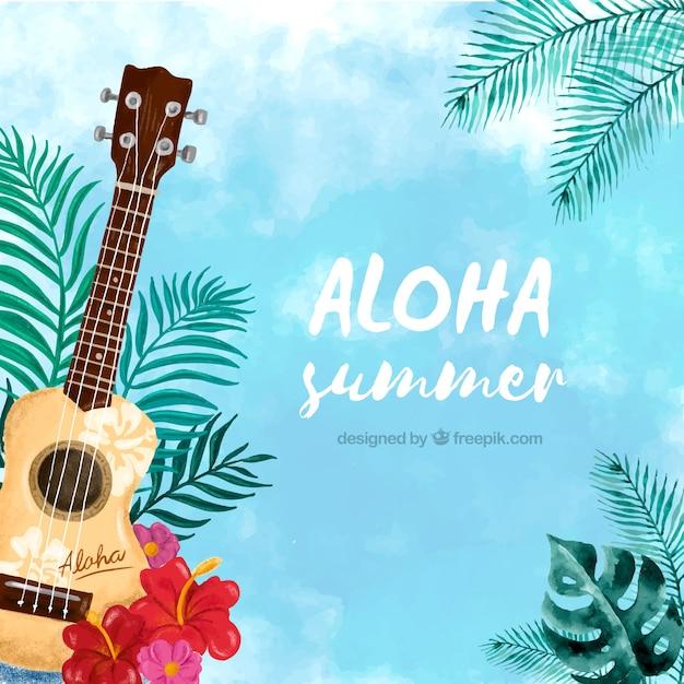 Watercolor aloha background with ukulele Free Vector
