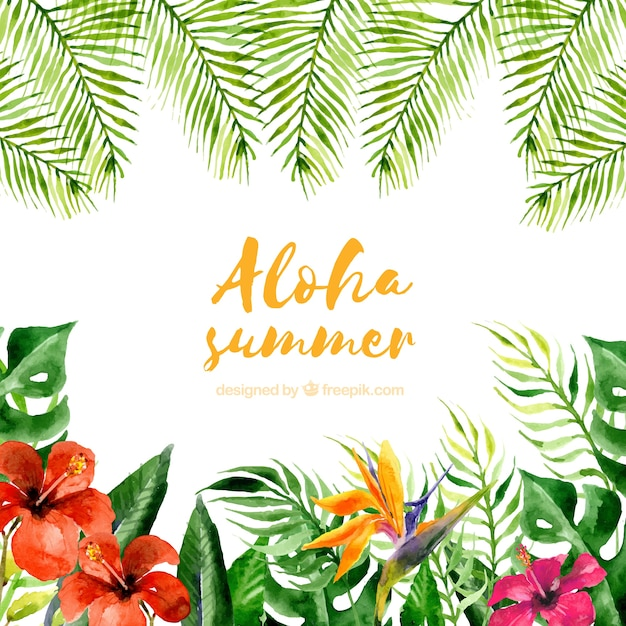 Watercolor aloha summer background with plants\ and flowers