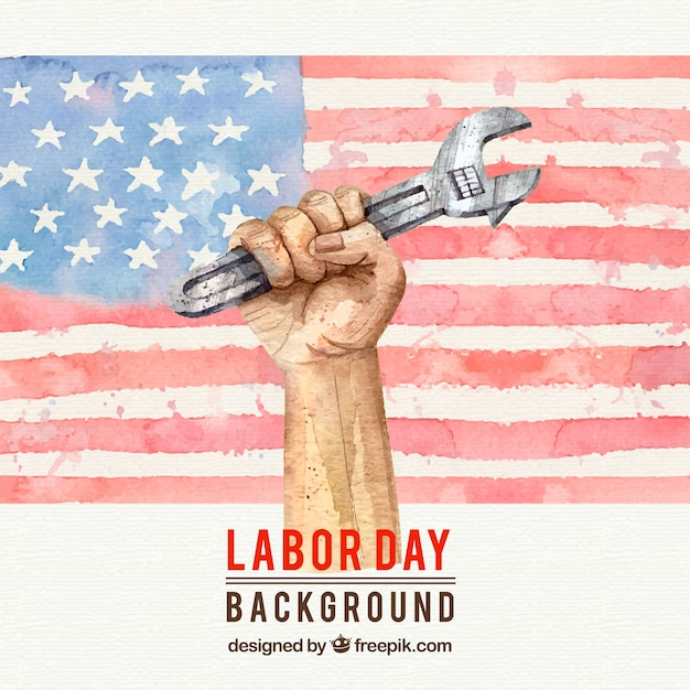 Watercolor american flag background and hand with wrench