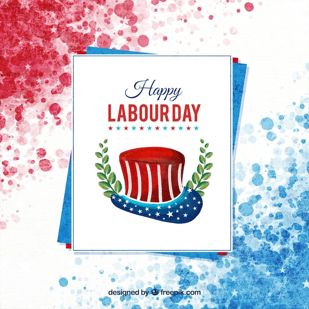Watercolor american labor day\ composition