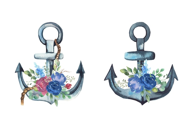 Watercolor anchor with flowers bouquets. Premium Vector