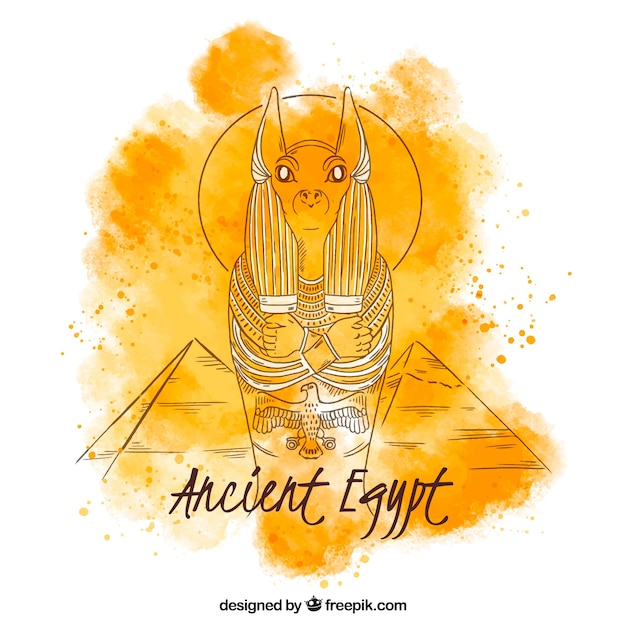 Watercolor ancient egypt composition Free Vector