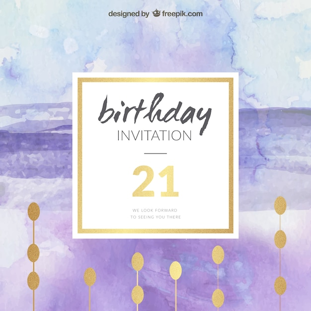 Watercolor and golden birthday invitation vector premium download watercolor and golden birthday invitation premium vector stopboris Choice Image