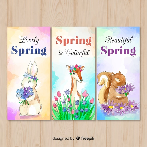 Watercolor animal spring banner Free Vector