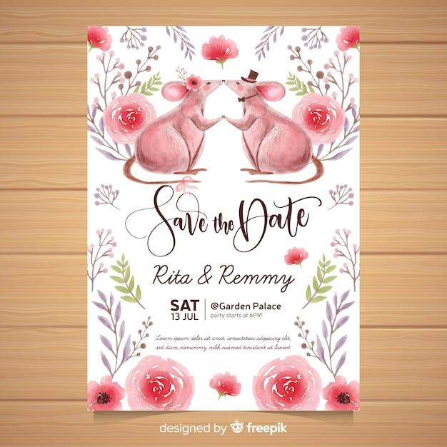 Watercolor animal wedding invitation template Free Vector