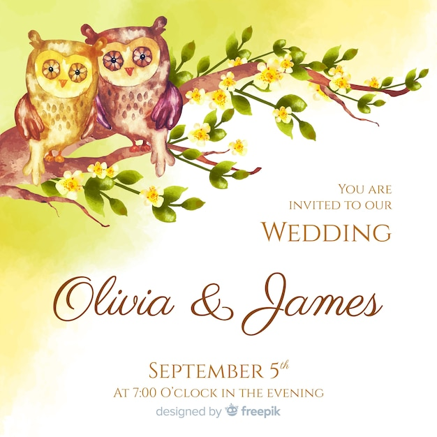 Watercolor animal wedding invitation template Free Vector