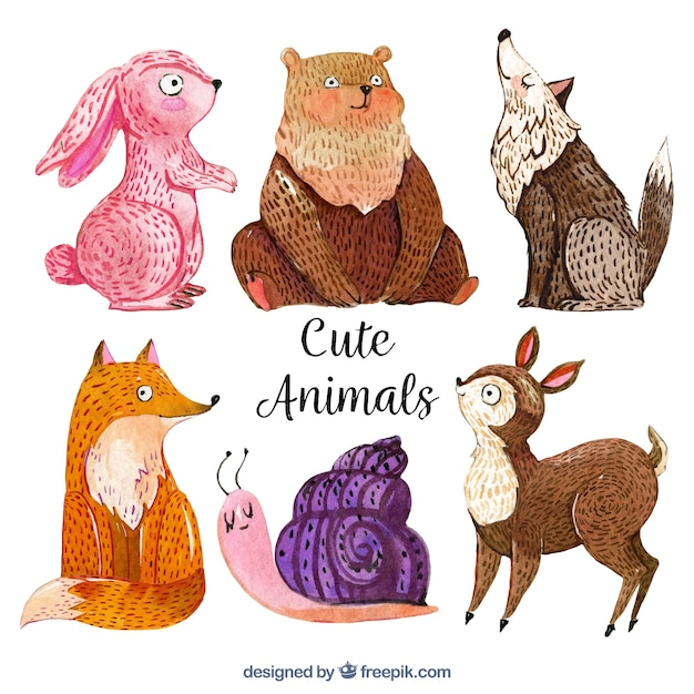 Watercolor animals with fun style
