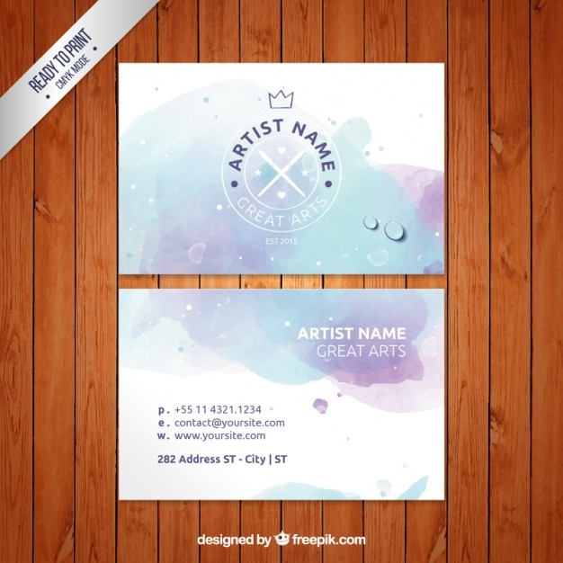 Watercolor Artist Business Card Vector