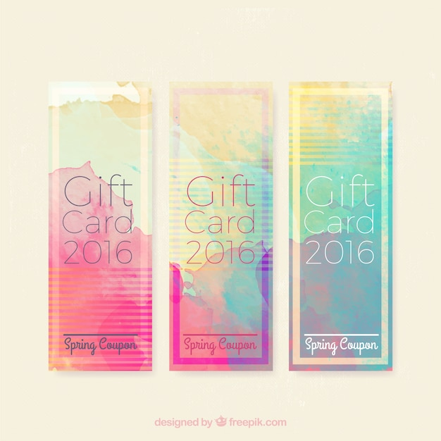 Watercolor artistic gift banners Premium Vector