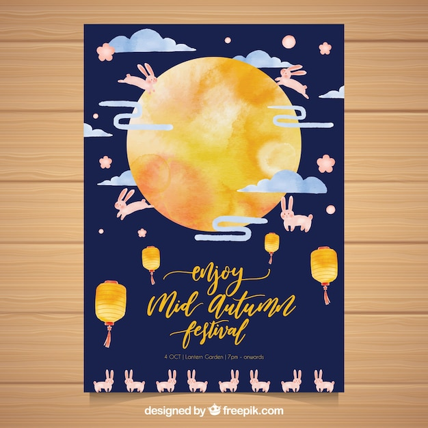 Watercolor asian party poster with moon and rabbits Free Vector
