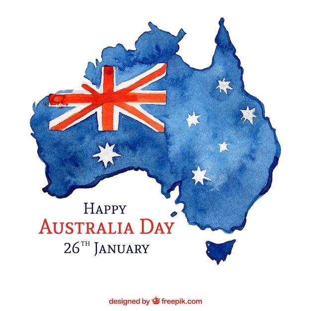 Priorità bassa di giorno dell'acquerello australia Vettore gratuito