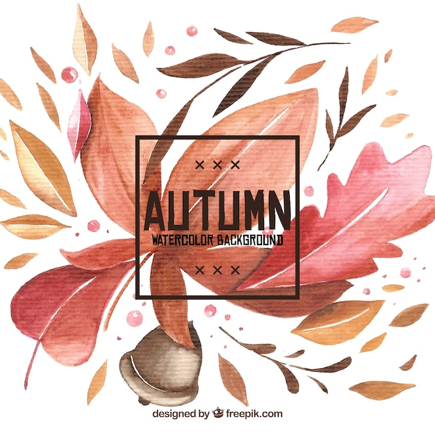 Watercolor autumn background with colorful style