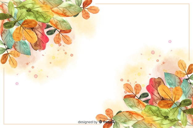 Watercolor autumn background with leaves Premium Vector