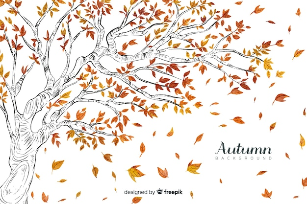 Watercolor autumn background with leaves Free Vector
