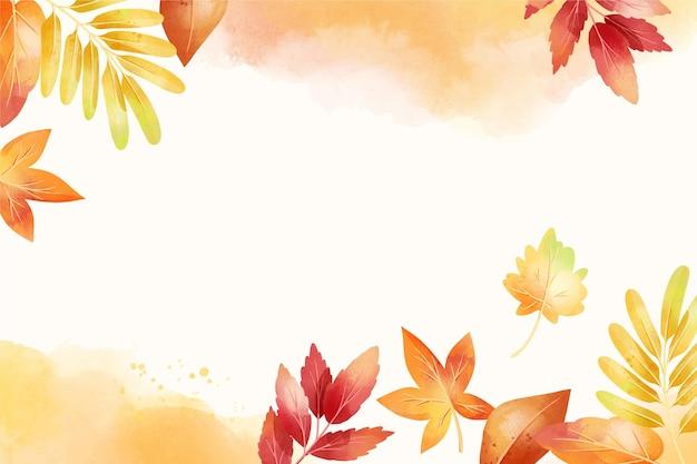 Акварель осенний фон с листьями Бесплатные векторы