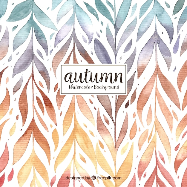Watercolor autumn background with pattern of leaves Free Vector