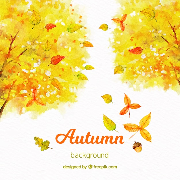 Watercolor autumn background with yellow trees Free Vector