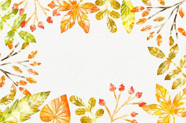 Watercolor autumn background Free Vector