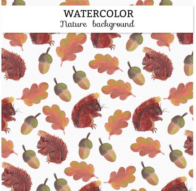 Watercolor autumn background Premium Vector