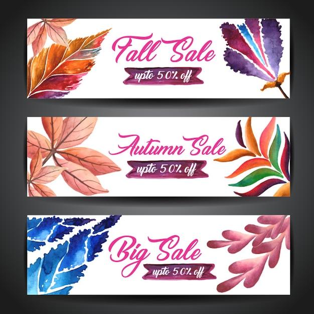 Watercolor autumn banner Premium Vector