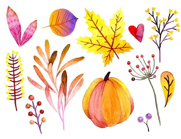 Watercolor autumn banner. Premium Vector