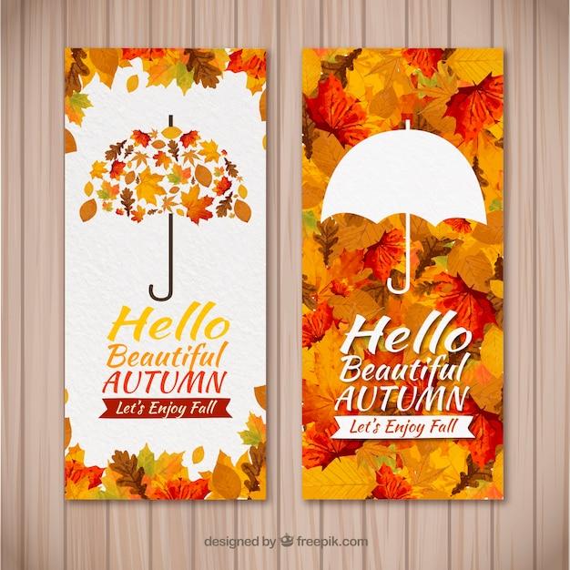 Осенние баннеры с акварелью в современном стиле Premium векторы