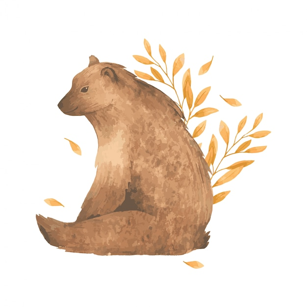 잎에 수채화가 곰. 프리미엄 벡터