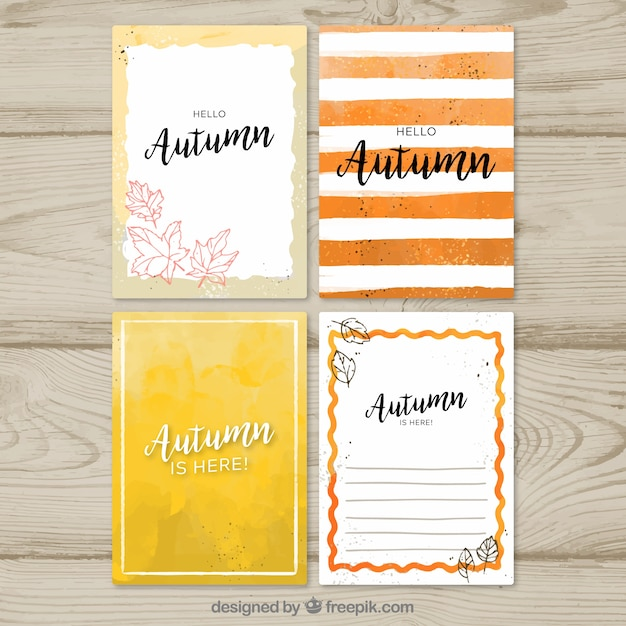 Watercolor autumn card collection with modern style